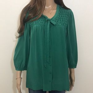 Joie 💯 % Silk Button Down Blouse S Green